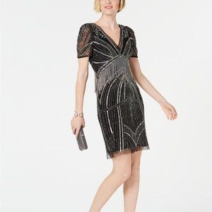Adrianna Papell Hand-Beaded Illusion Sheath Dress